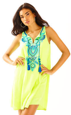 $195 NEW Lilly Pulitzer AUBRA SHIFT DRESS Loro Green Embroidered Blue S M
