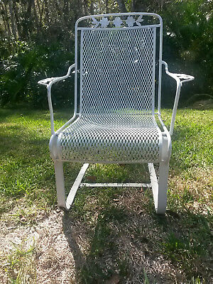 Two Wrought Iron Mesh Spring Chairs, Vintage Mid Century Patio Outdoor (set)