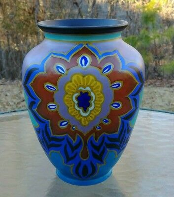 """Vintage 1930 Gouda Pottery Vase 8 1/4"""" Tall Cudisi ~ Pzh Zuid Holland"""