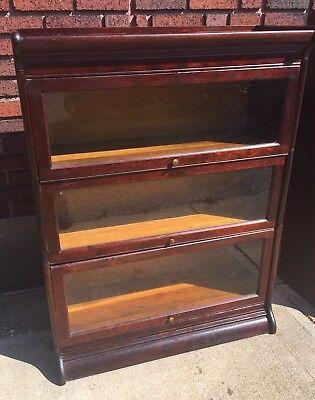Antique Gunn Solid Mahogany 3 Stack Barrister Bookcase Book Shelf Cabinet