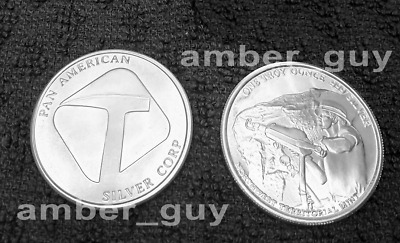 Pan American Silver Round - 1 ounce 999 Pure Silver Bullion Coin. FREE POSTAGE.
