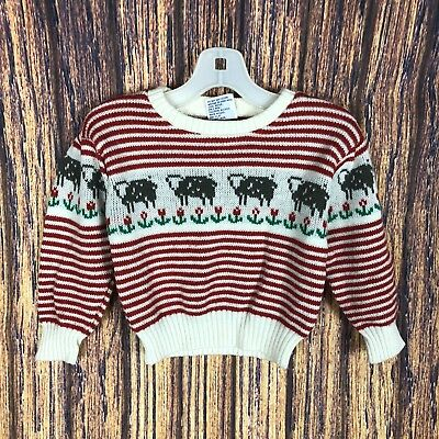 Vintage Cow Sweater Girls 3t Red Stripes Tulips 80s Farm