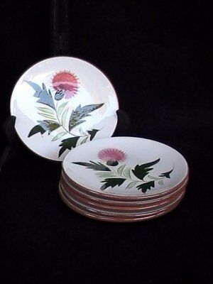 Stangl Pottery Pink Thistle 6 Bread Butter/Dessert Plates Brown/Green EUC