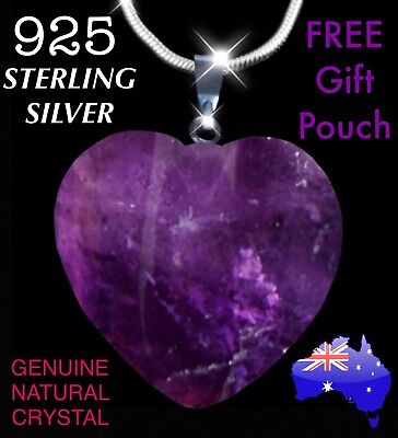 Genuine Amethyst Quartz Natural Purple Crystal Love Heart Pendant Necklace Gift