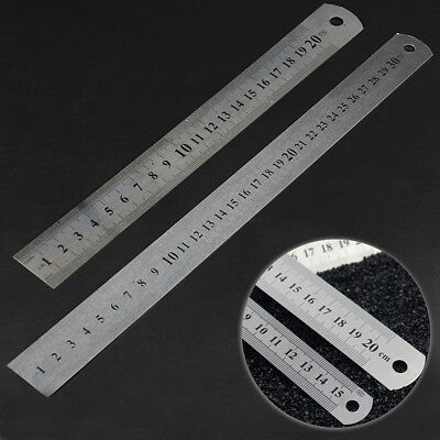 3Size Straight Ruler Steel Stainless Pocket Pouch Metric Measurement Double Side