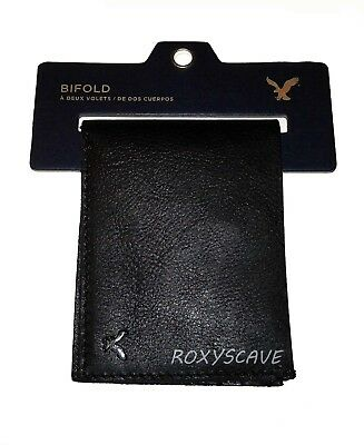 Nwt American Eagle Outfitters Mens Genuine Leather Bifold Wallet New Black Aeo