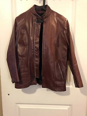 4a0d459f54c BEAU BREED Cafe Racer Jacket With Removable Fur Lining Brown Leather 70s S  36