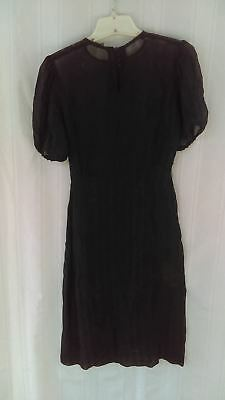 c1940 Young Girl's sheer Dress, navy blue with cloth buttons and short sleeves