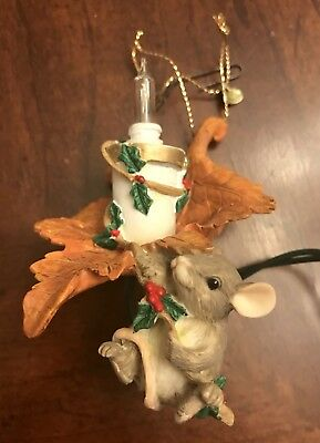 "Charming Tails Retired 1995 ""Maxine Lights a Candle"" Lighted Ornament - Rare"