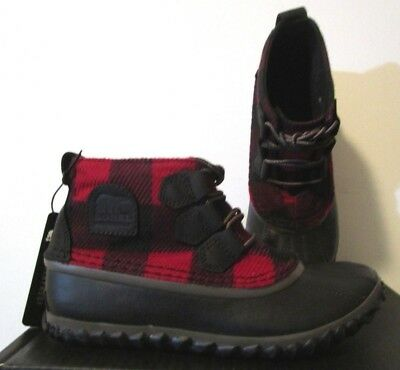 c2772416230 NIB Womens Sorel Out N About Waterproof Shoes Fashion Boots - Red   Black  Plaid