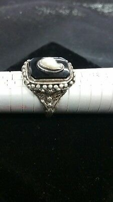 Antique Victorian Style Black Onyx & Pearl Mourning Ring Vintage