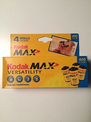 Expired 35mm color film Kodak Max 400 iso box of 4 rolls 24 exposures sealed