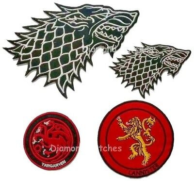 Game of thrones house stark Direwolf targaryen lannister iron on patch
