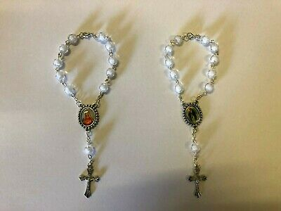 Kids Crystal Glass Religious ROSARY Beads Bracelet With Crucifix in Gift Box