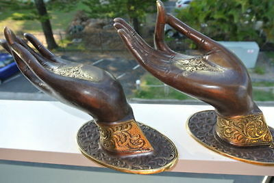 2 BUDDHA DOOR handle solid ageds brass antique old style HAND fingers 25cm L&R