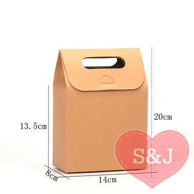 10x Kraft Cardboard Box Brown Paper Bag Party Favour Bomboniere 20x14x8cm Handle