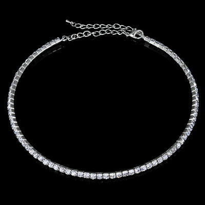 Silver Crystal Diamante Diamonds Necklace Choker Party Jewelry for Girls Women