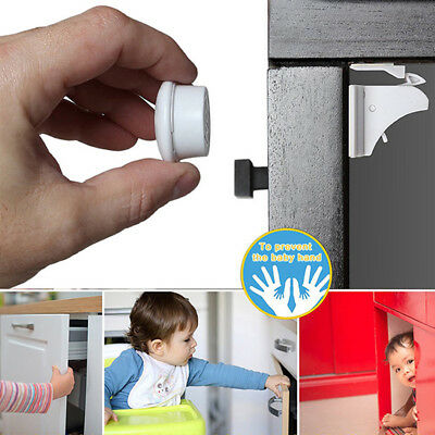 NEW Safety Baby Children Magnetic Cabinet Locks Key - No Tools Or Screws Needed