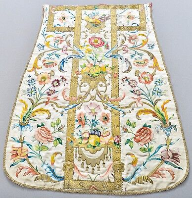 Museum Exhibited Antique 18Th Century Italian Chasuble Embroidery Textile