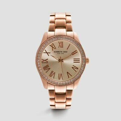 New Kenneth Cole New York Womens Classic Rose Gold-Tone Round Watch