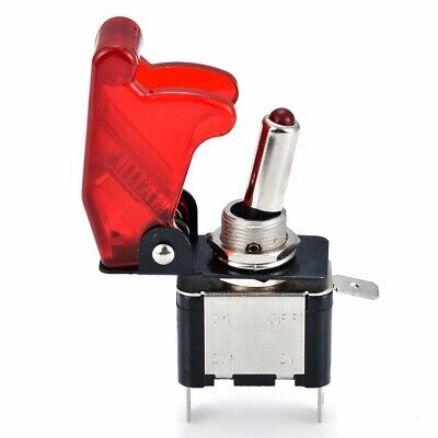 12V 20A Racing Car Vehicle ON/OFF Light Rocker Toggle Switch & Red Cover Set