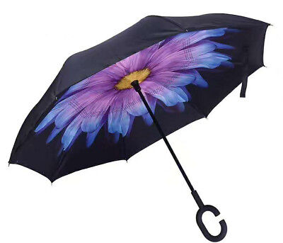 Modern Upside Down Reverse Umbrella C-Handle Double Layer Inside-Out Windproof