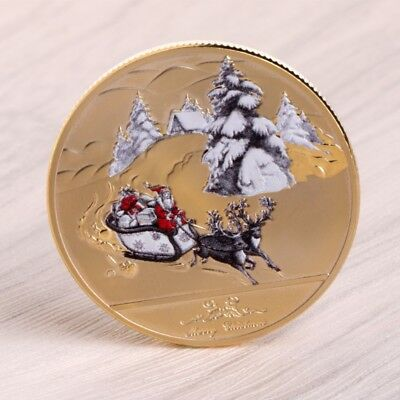 Merry Christmas Santa Claus Deer Sleigh Commemorative Coin New Year Souvenir Hot
