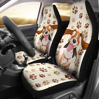 Funny Dog Car Seat Cover Animal Lover Beagle Dog Fan Protect Car Seat Set of 2