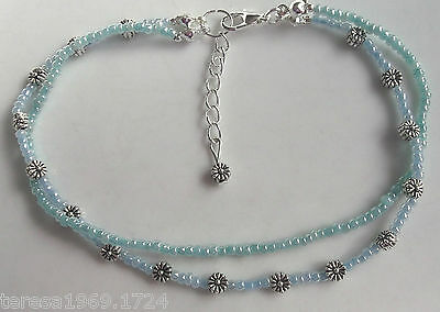Hand made stretch tibetan silver flower anklet ankle bracelet blue green 9.75in