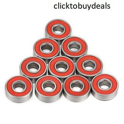 10Pcs 608Zz Red Deep Groove Ball Bearing Carbon Steel For Skateboard Rollerblade