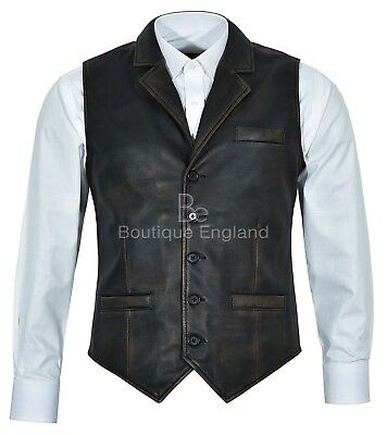 Men's Vintage Black Bronze Stylish Vest 100 % Real Leather Waistcoat 1349