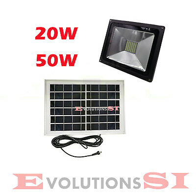 Foco Led Con Placa Solar 20W 50W Para Intemperie Ip65 Mando A Distancia
