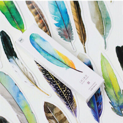 30 Pcs/lot Colorful Bookmark Feather Paper Bookmark Book's Decoration Gift XXF