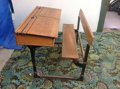 Vintage Double School Desk with bench seating, 1920's-1930's