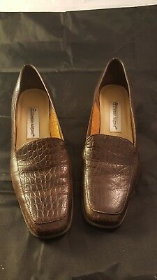 03525b81cae ETIENNE AIGNER HEELS Brown Canvas Leather 7.5 M Womens Shoes Pumps ...