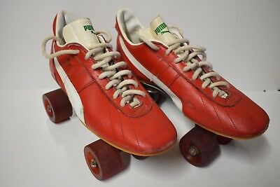 Vintage Puma 2000 Red / White Roller Skates Size 7 1/2 With Invicta Club Base 6