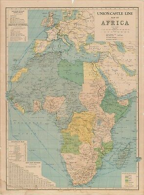 Union Castle Line Photo illustrated brochure/Map of Africa circa 1953