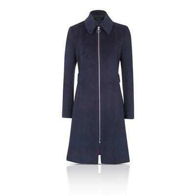 French Connection FCUK 70EBO Atomic Zip Up Collar Belt Detail Blue Coat RRP £150