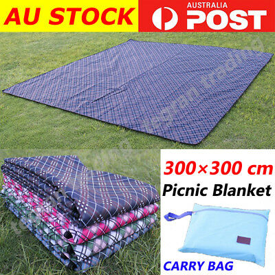 3X3m Extra Large Picnic Blanket Cashmere Rug WaterproofMat Outdoor Camping