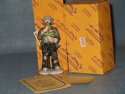 """Emmett Kelly Jr. Miniature figurine 10012 """"Eating Cabbage"""" in box with papers"""