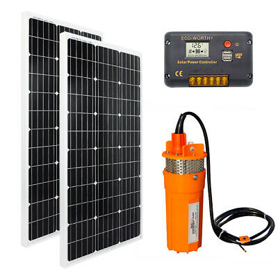 24V DC Submersible Deep Water Well Pump +200W Solar Panel Module F/ Garden/Ponds