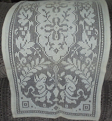 Vtg Cream Table Runner Dresser Hand Crocheted 40 Long X 15 Wide