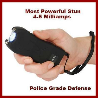 Police Style BLACK RUNT 49 MV stun gun & Flashlight with Disable Pin 4.5 Ma