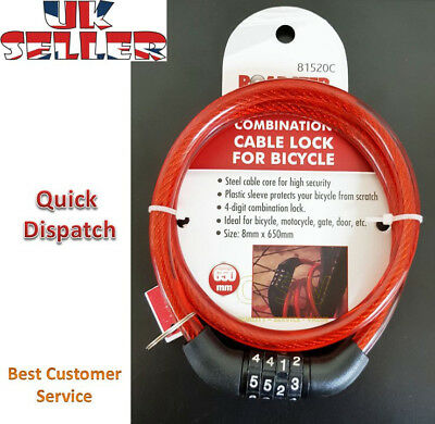 Combination Number Code Bike Bicycle Cycle Lock 8mm by 650mm Steel Cable Chain.