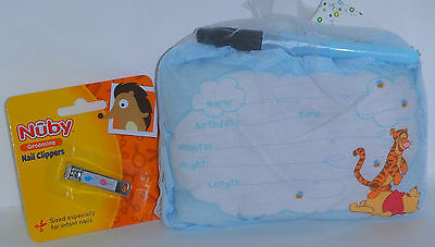 Winnie The Pooh BOY Birth Announcement Pillow, Matching Blue Pen & Nail Clippers