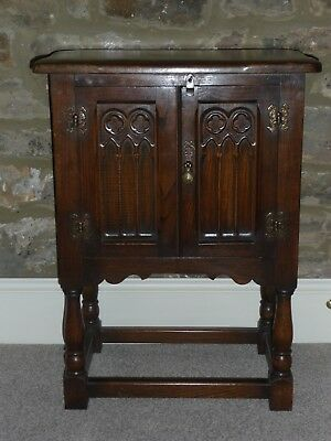 Cabinet, Oak, Gothic 2 Door with Attractive Carving REDUCED!!
