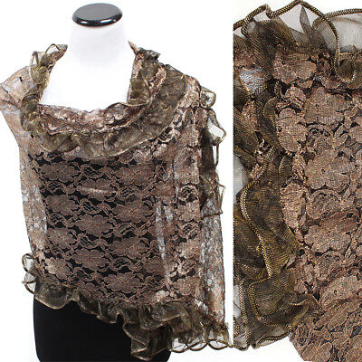 Bling Shawl Flower Lace Wedding Party Gift Evening Scarf Wrap Shawl Frill Gold
