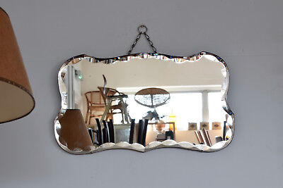 Vintage Rectangcular Mirror With Tabs Bevelled Edged Art Deco Mirror With Chain