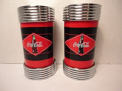 "Diner Coca Cola Brand Salt and Pepper Shakers 1997 Chrome & Red 3 3/4"" tall"