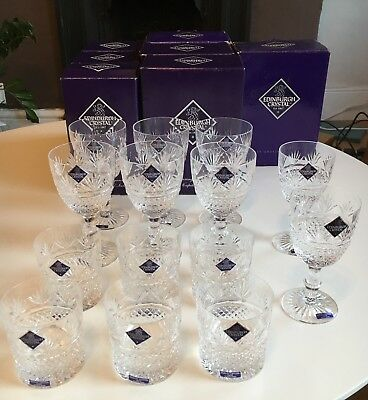 Edinburgh Crystal Glass Set. Unused. 14 Pieces. Whisky and Wine Glasses.